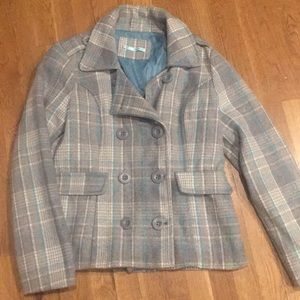 Gray and Blue Plaid Peacoat